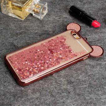 3D Mickey Ear Dynamic Liquid Cover Clear Soft TPU Bling Diamond Quicksand Phone Case For iPhone