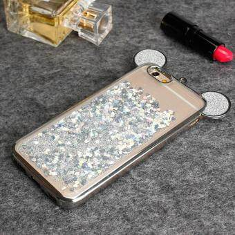 3D Mickey Ear Dynamic Liquid Cover For iPhone 6 Plus 6s Plus Bling Diamond Quicksand Soft