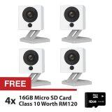 4 Sets Xiaomi Small Square Xiao Fang Yi CCTV IP Camera Night Vision 1080P Full HD (White) + FREE 4 Sets Micro SD Card Class 10 16GB