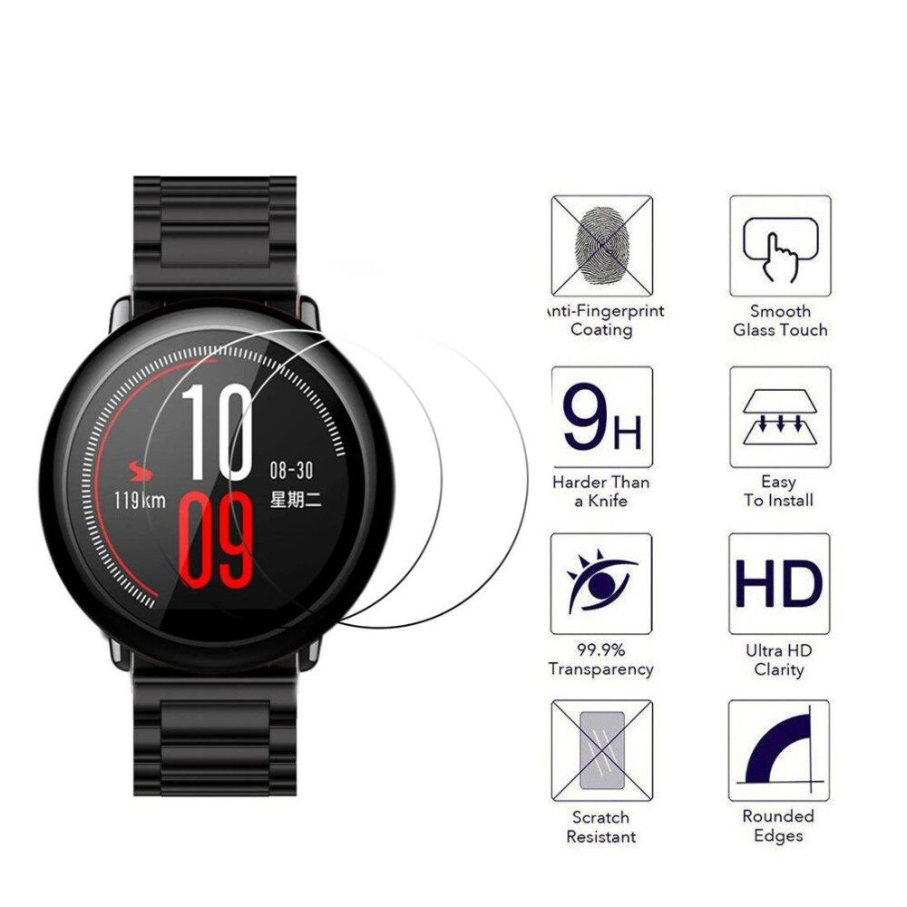 Fitur 4pcs 2 5d Tempered Glass Film Screen Protector For Huami Xiaomi Amazfit Pace Stratos Cover Bumper Case Shell Frame 25d Smart Watch Intl