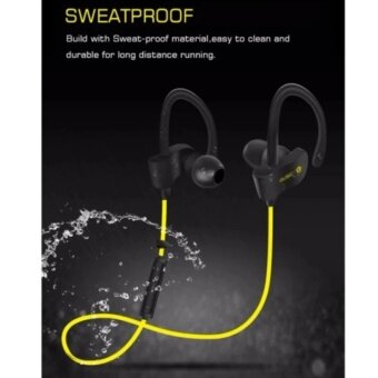 56S Bluetooth 4.1 Wireless Headset Outdoor Sports Running Stereo Music Smartphones Water Resistant Noise Cancellation Reduction Sweatproof Handsfree Earpiece Rechargeable In-Ear Earphones with 2 Months Warranty - [YELLOW] - 5
