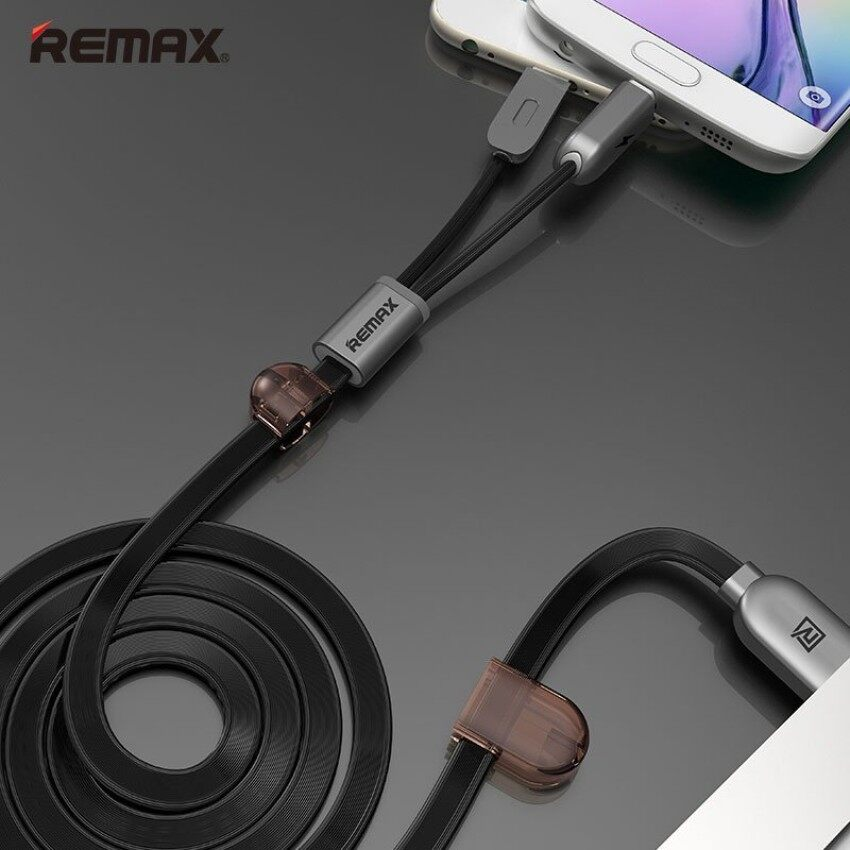 5PCS Remax Dual Heads IOS Micro USB Mobile Phone Data Fast Charge Cable 2.1A for IOS Android Phone(100cm) HAO YUAN KE JI 078 - intl