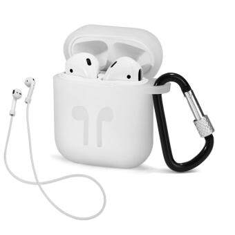 AirPods Case with Strap Protective Silicone Cover with Carabiner for Apple wireless earphone Airpods Accessories