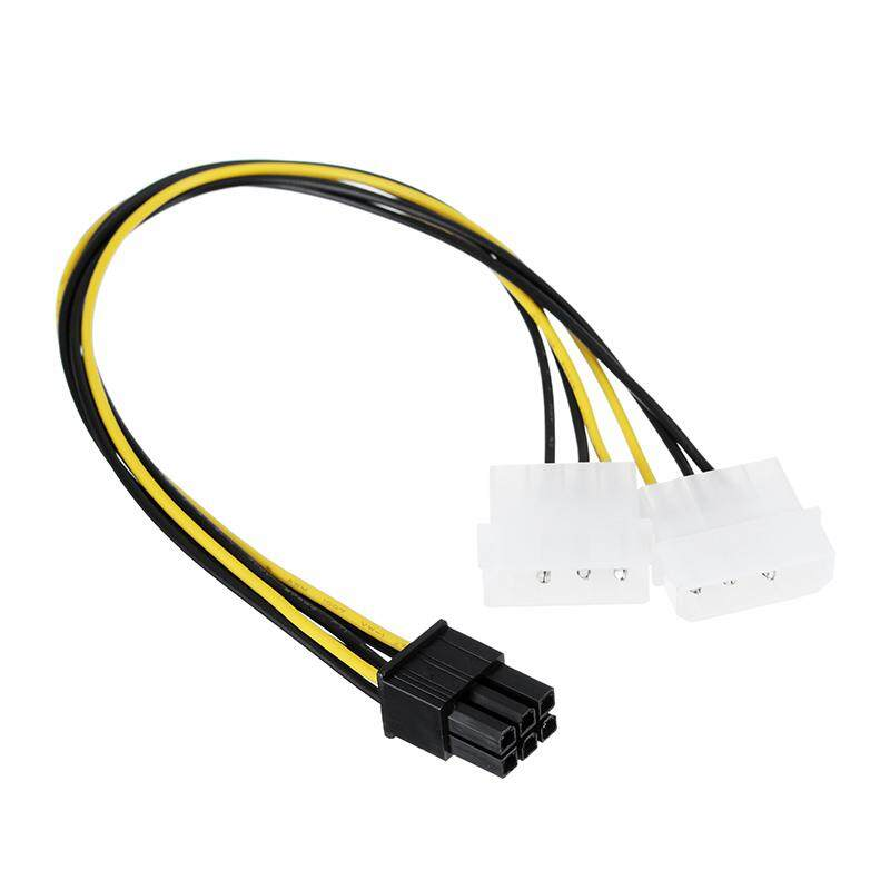 Akasa 10cm 2x 4pin Molex to 6pin PCIe Cable Adapter Connector PC Power Supply Computer Cable PSU For VGA Cards - intl