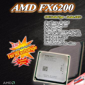 Harga AMD FX-6200 Zambezi 6-Core 3.8GHz (4.1GHz Turbo) Socket AM3+ (Refurbished)