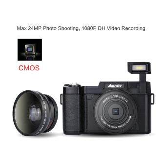 "Amkov AMK-R2 24MP 1080P 3.0"" LCD Rotatable Screen Digital SLR DV Recorder Camera Black"