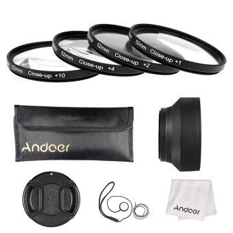 Andoer 52mm Close-up Macro Lens Filter Set(+ 1 +2 +4 +10) with LensAccessories(Lens Pouch/Collapsible Lens Hood/Lens Cap/Lens CapHolder/Cleaning Cloth)