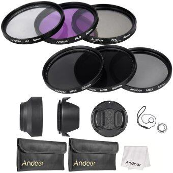 Andoer 52mm Lens Filter Kit UV+CPL+FLD+ND(ND2 ND4 ND8) with CarryPouch / Lens Cap / Lens Cap Holder / Tulip & Rubber Lens Hoods/ Cleaning Cloth
