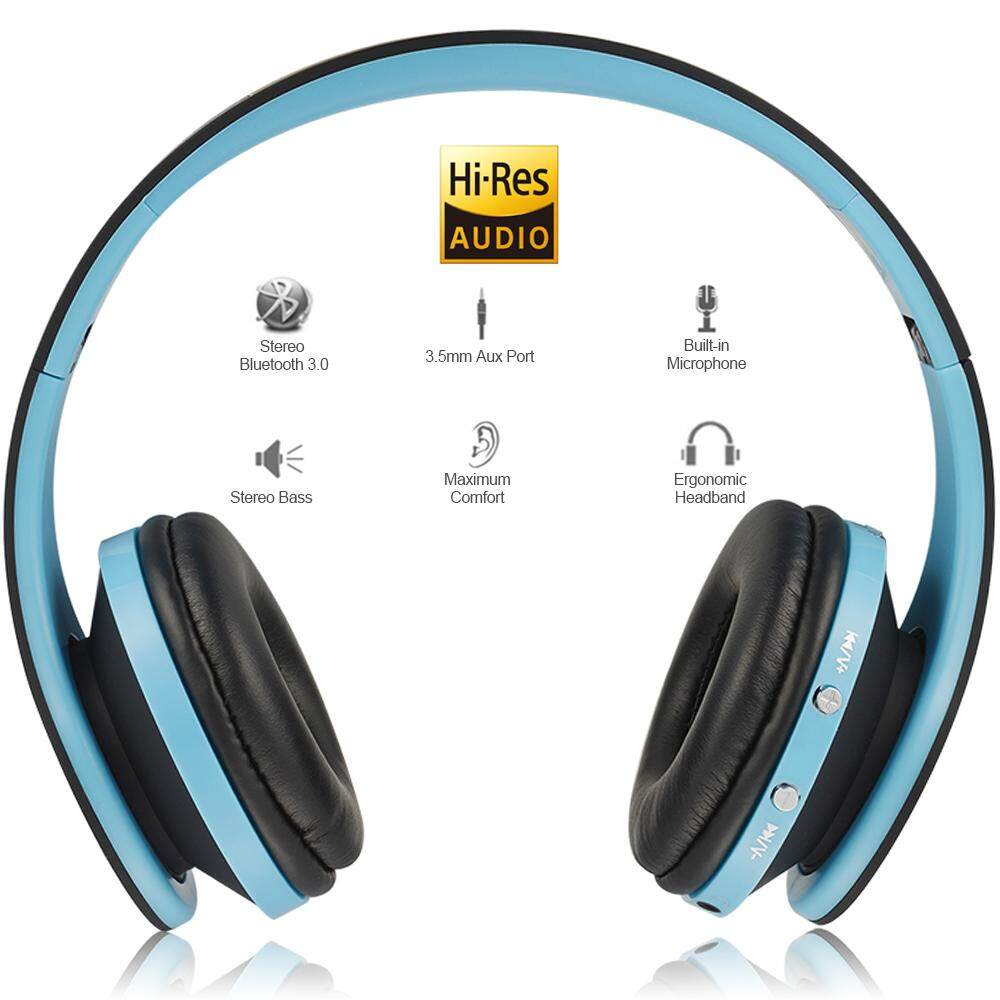 Andoer Foldable Bluetooth Headphones Stereo Bluetooth 3.0 Super Bass Headsets 3.5mm Wired Earphone Hands-