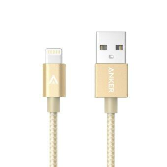 Harga Anker Best Nylon-Braided Lightning to USB 0.9m MFI Certified ChargeCable for Lightning to USB Cable for iPhone (Gold)