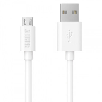 Harga Anker PowerLine 0.9m Micro USB PVC Sync Charging Cable forSmartphone and Tablet (White)