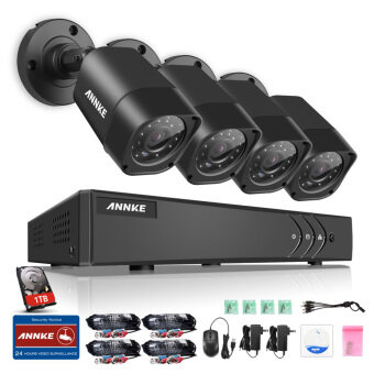 Harga ANNKE 1 MP 720P 4 Bullet Cameras 1TB TOSHIBA HDD CCTV DVR Kits Security System-Indoor Outdoor Night Vision Desktop & App Remote Monitoring Motion Detect Alert