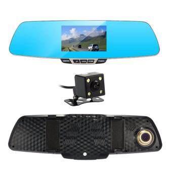 Anytek T6 HD Front & Rear Recording 2 in 1 Dual Lens Car Camera DVR Recorder with Rear View Mirror Digital Car Camcorder Dash Cam