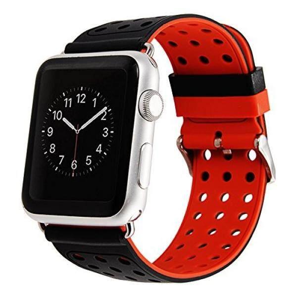Apple Jam Tangan Tali 42 Mm-Maxjoy IWatch Tali Silikon Tali Penggantian Pintar Jam Tangan Gelang Multi Warna Bagian Manset Lengan Kemeja dengan logam Gesper untuk Apple Jam Tangan Seri, nike + Olahraga Edition, Hitam + Merah-Internasional