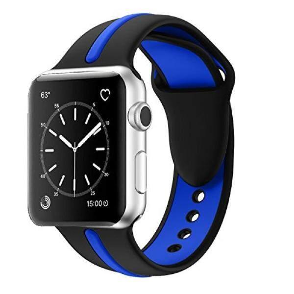 Apple Jam Tangan Tali, solomo [Olahraga Seri] Modis IWatch Tali Silikon Tahan Lama Penggantian Garis Warna Penyambungan Gaya dengan Wanita/Pria gelang untuk Apple Jam Tangan Nike +, seri 3/2/1 (42 Mm Biru)-Internasional