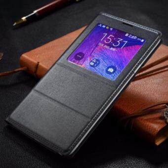 Asuwish Leather Phone Case For Samsung Galaxy Note4 Smart View AutoSleep