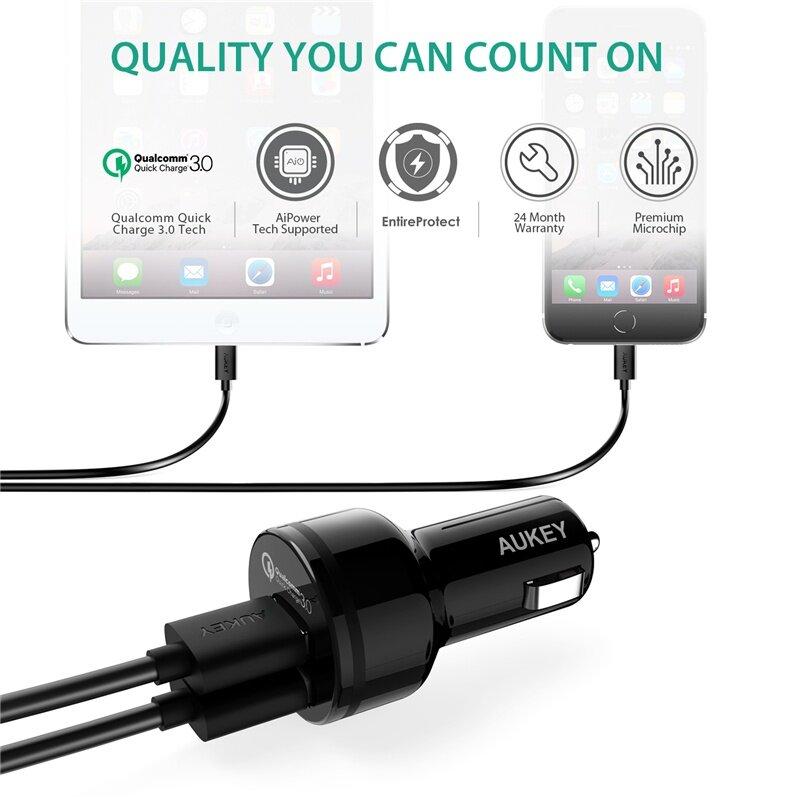 AUkEy 36 W Pengisi Daya Mobil USB Pengisian Cepat 3.0 Mobil-Charger Ponsel Mobil Pengisi