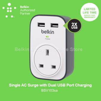 Belkin BSV103sa SurgeCube 1 Outlet Surge Protector with 2 x 2.4A Shared USB Charging