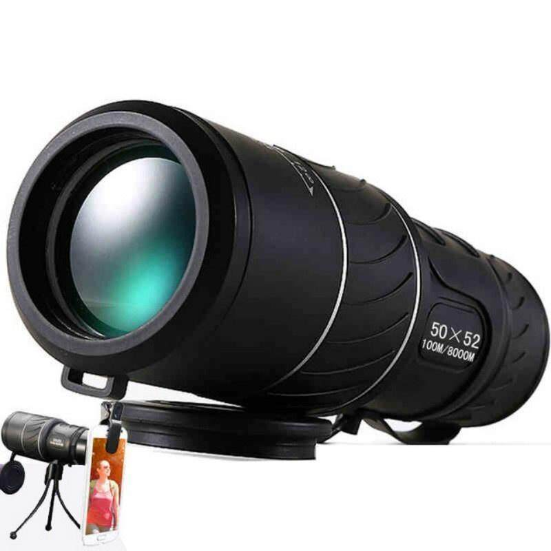 Black HD Compact Monocular Zoom 50x52 Telescope Binoculars high-power with Tripod and phone clip