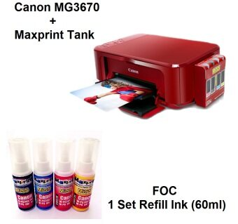 Harga Canon MG3670 (RED) All-In-One Printer with MiSS & 1 Set RefillInk