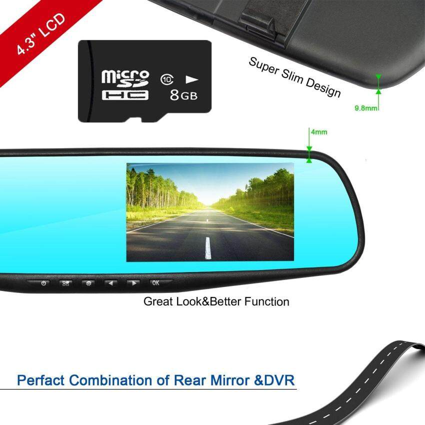 Car Camera Car Video Recorder Full HD 1080P Car Video Camera4.3 Inch LCD with Dual Lens for s Front & Rearview Mirror DVRs Dash Cam with SD card SD2010 - intl