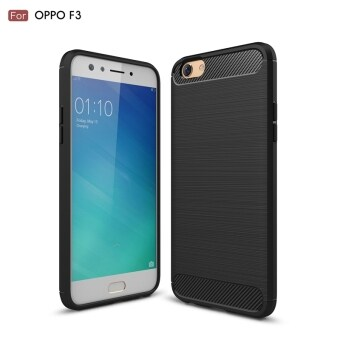 Carbon Fiber Texture Brushed TPU Case Frosted Soft Rubber Gel BackCover for OPPO A77 / F3 Shockproof Rugged Armor