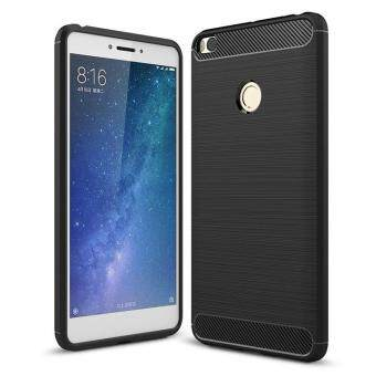 Carbon Fiber Texture Brushed TPU Case Rugged Armor Soft FrostedRubber Gel Back Cover for Xiaomi Mi Max 2 Max2