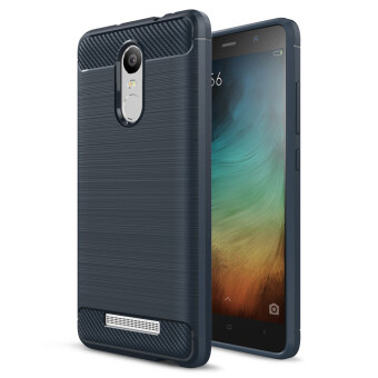 Carbon Fibre Brushed TPU Back Case for Xiaomi Redmi Note 3 / Note 3Pro - Dark Blue