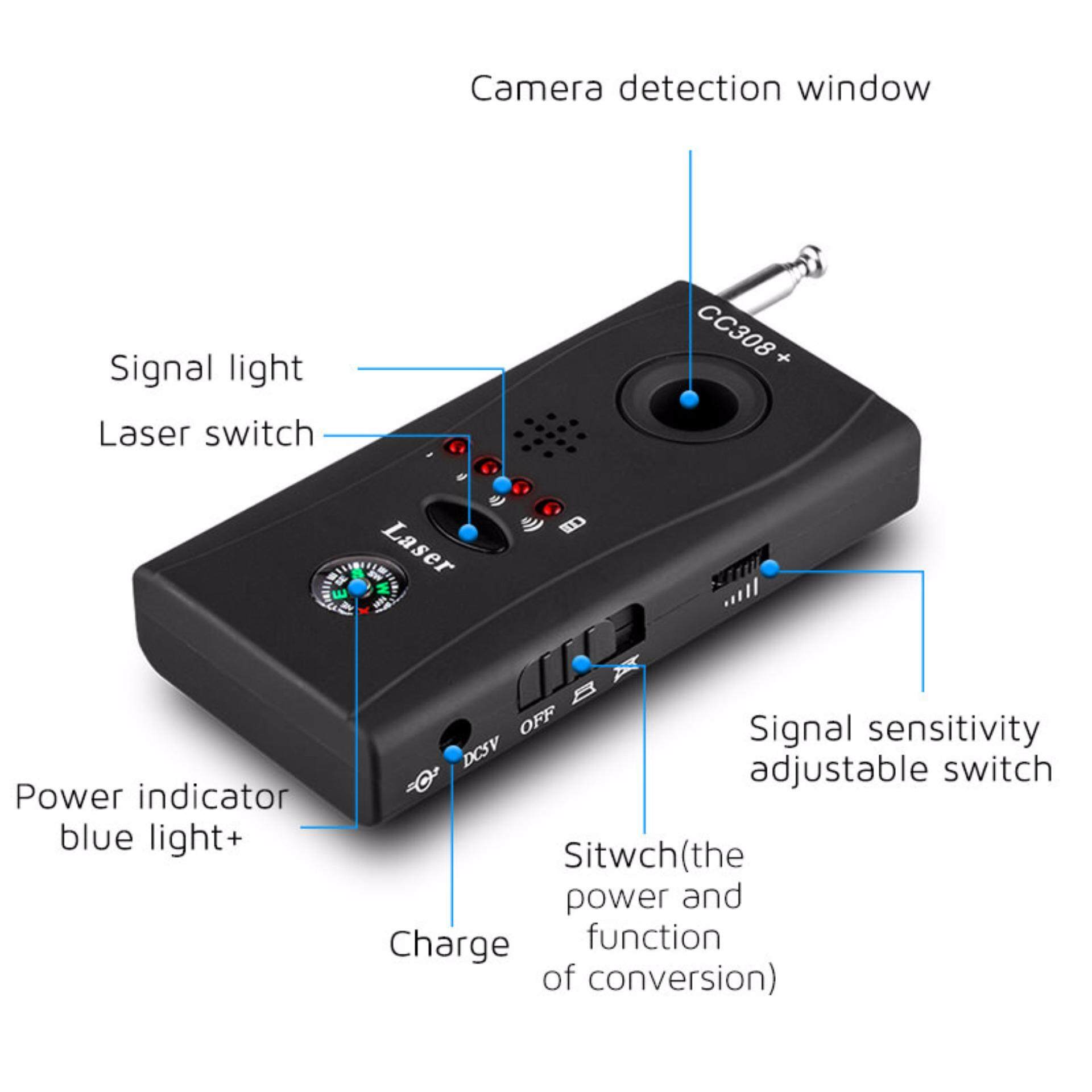 CC308 LITTLE ANGLE SPY HIDDEN CAMERA MULTI-DETECTOR