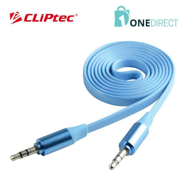 CLiPtec METALLIC Slim Flat Stereo Audio Cable-OCC232 (Blue)