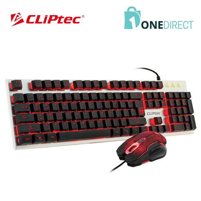 CLiPtec USB Illuminated Gaming Keyboard and Mouse Combo Set-RGK700 (Silver)