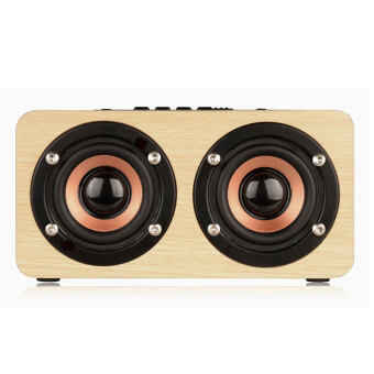 Harga Coowalk W5 Portable Mini HIFI Wireless Wooden Speaker Box 10W HDDual Stereo Loudspeaker(Yellow)