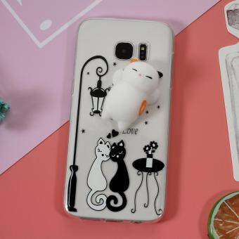 Cute Kneading 3D Silicone Squishy Cat TPU Cell Phone Case forSamsung Galaxy S7 edge SM-G935 - Black and White Cat