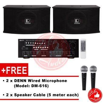 DENN CLASSIC Karaoke System Set - Karaoke Amplifier DK-C6 + Karaoke Speaker DKS-350 + FREE Wired Microphone DM-616 + FREE Speaker Cable