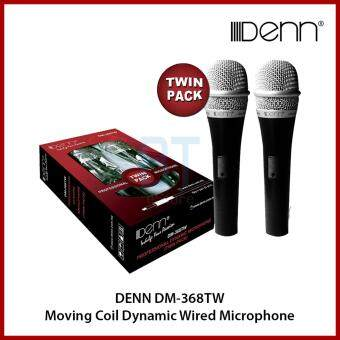 Harga Denn DM-368TW Moving Coil Dynamic Wired Microphone (Twin Pack)