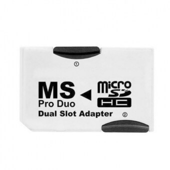 Harga Dual Slot MicroSD TF To MS Memory Stick Pro Duo Adapter Sony PSP& Mobile Phone