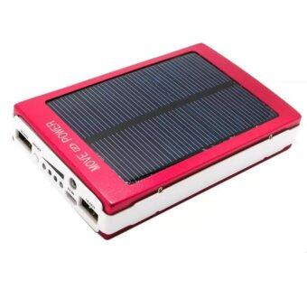 Dual USB Solar Power Bank Solar Mobile Matte Power Bank 20000mAhPowerful Solar Power Bank 20000mAh Charge with Sunlight (Red)