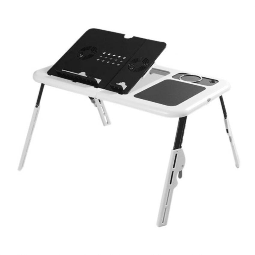E-Table Portable Foldable Laptop Table Notebook Desk with USB Cooler Fan System White Malaysia