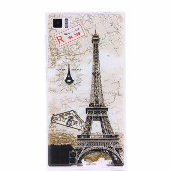 Eiffel Tower Clear Edge Soft Silicon Painting Back Cover Case For Xiaomi Mi3 Multicolor