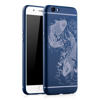 Harga Fashion 3D Fish Silicone Back Cover Case For Oppo F1s/Oppo A59(Blue)
