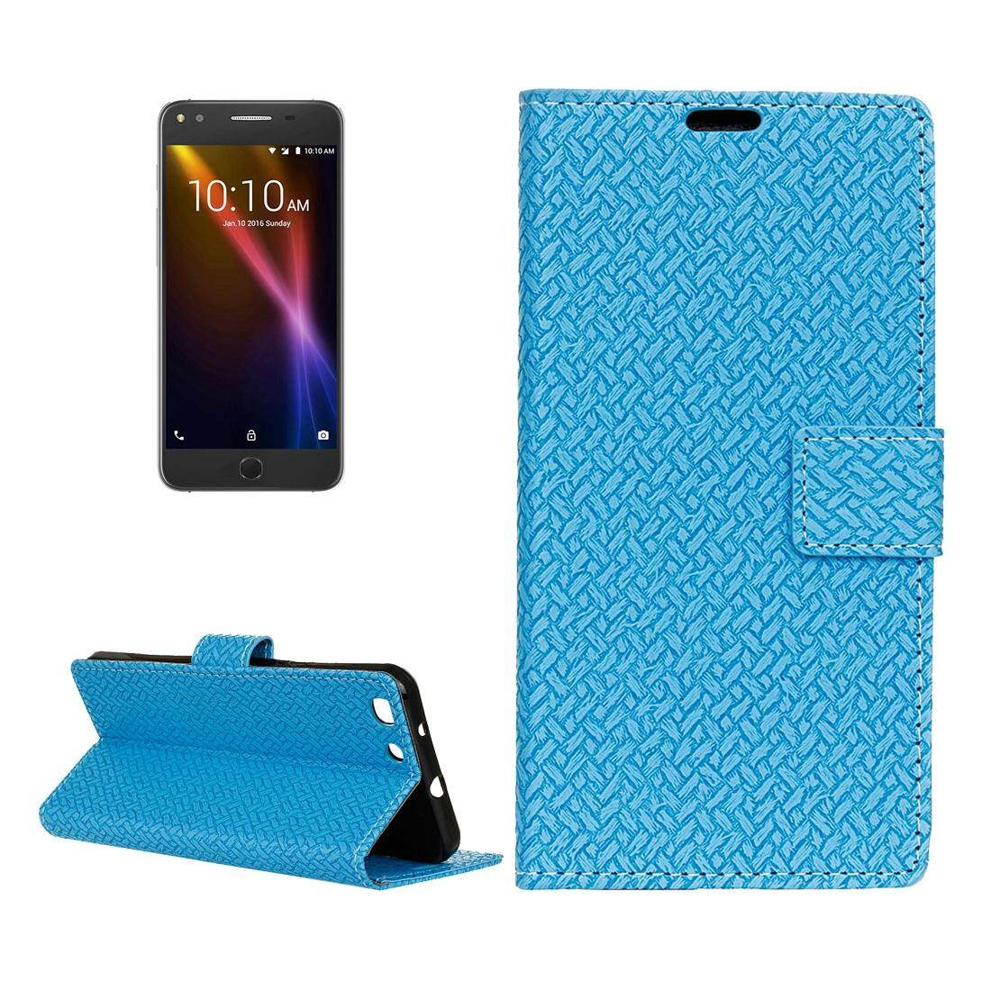 For Alcatel Onetouch X1 7053D Weaving Texture Horizontal Flip PU Leather Case with Magnetic Buckle & Holder & Card Slots & Wallet & Photo Frame(Blue) - intl