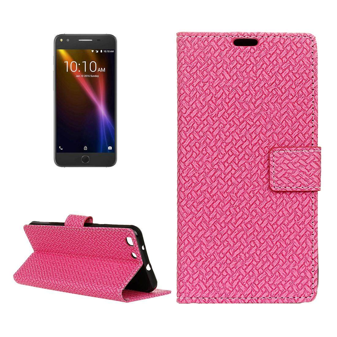 For Alcatel Onetouch X1 7053D Weaving Texture Horizontal Flip PU Leather Case with Magnetic Buckle & Holder & Card Slots & Wallet & Photo Frame(Magenta) - intl