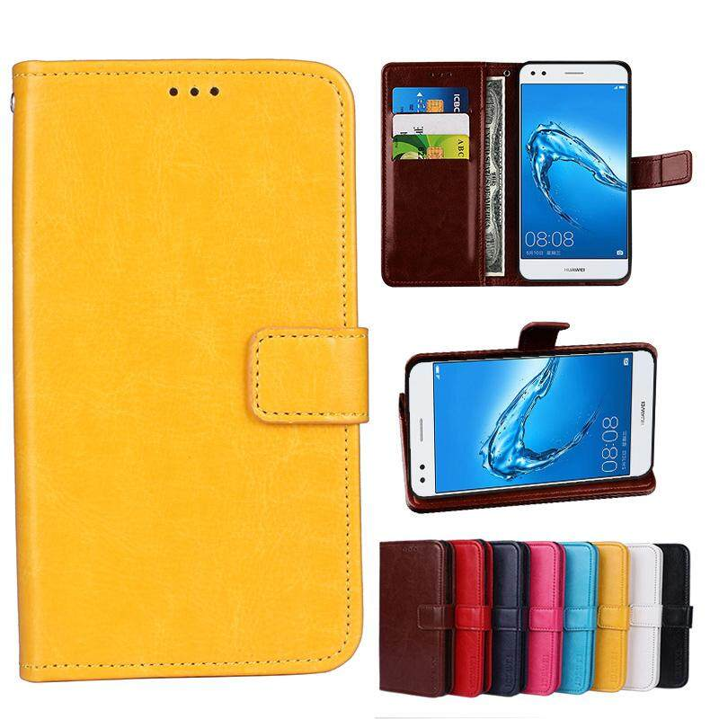 Wallet Stand Vintage Crazy Horse PU Leather Case Flip Folio Magnetic Closure Book Cover with 3 Credit Card Holders for Doogee shoot 1 - intl