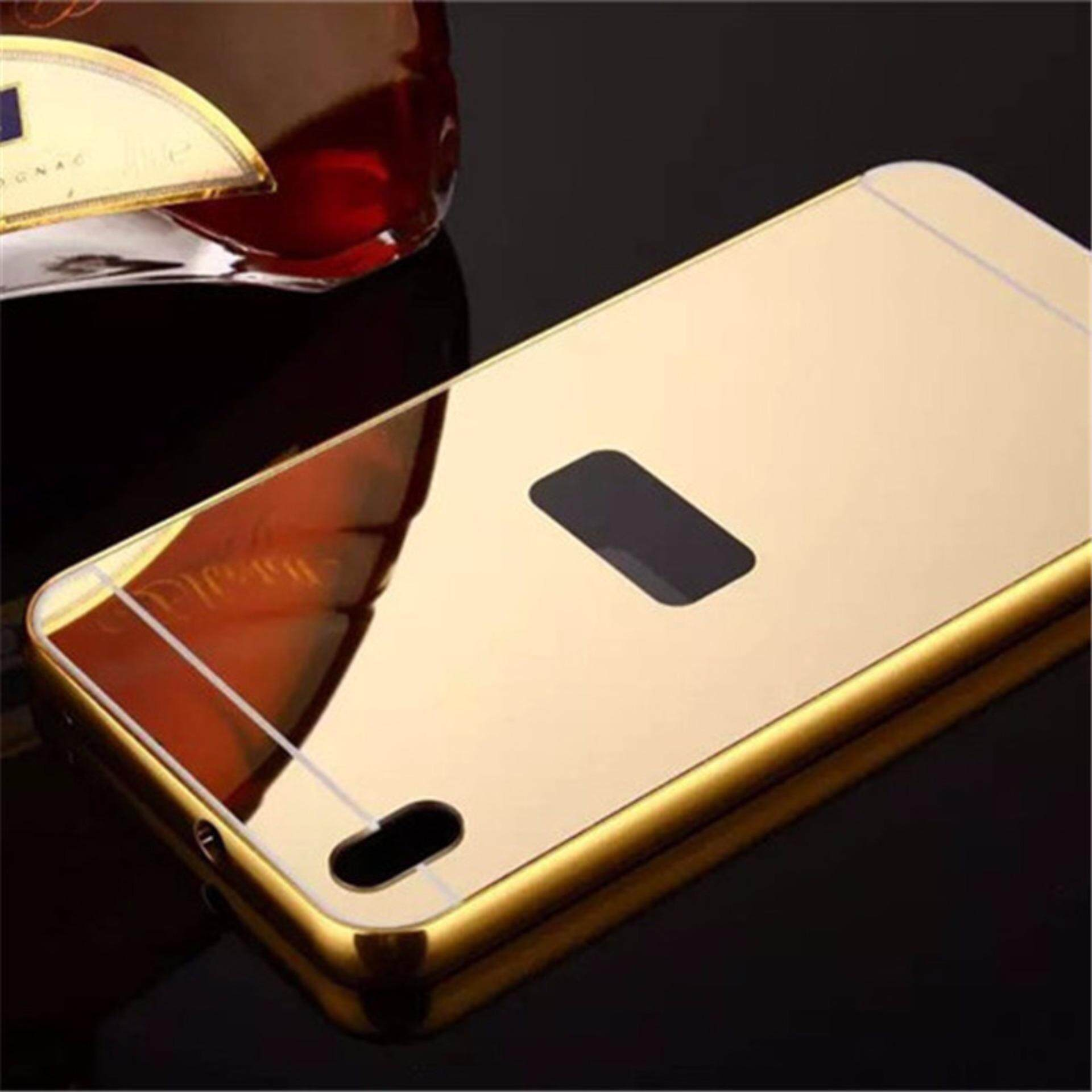 For HTC Desire 816 Ultra Slim Aluminum Frame + Plated Metal Mirror PC Hard Case Cover (Gold) - intl