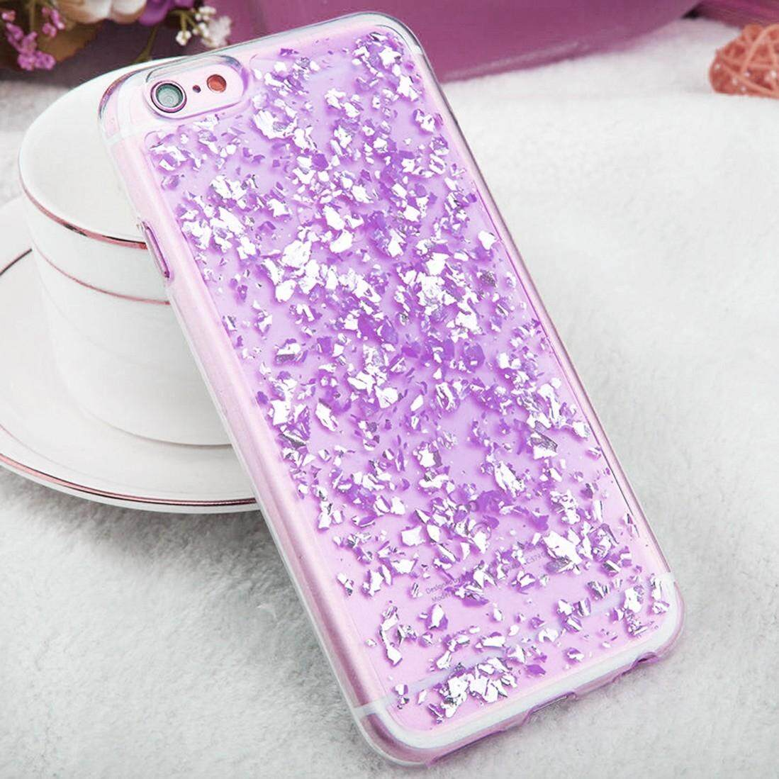For iPhone 6 & 6s Scattered Platinum Pattern TPU Protective Case(Purple) - intl