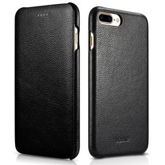 Harga For iPhone 7 Plus Genuine Leather Case,XOOMZ Vintage Leather FlipFolio Opening Cover, Curved Edge Design for Apple iPhone 7 Plus 5.5inch (Black)