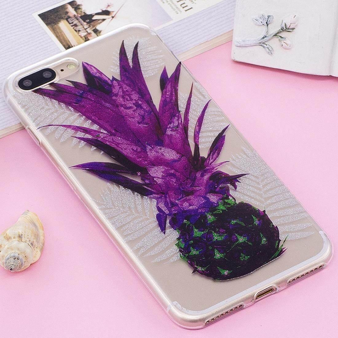 Untuk iPhone 8 PLUS & 7 Plus IMD Berkilau Bubuk Pola Nanas Transparan TPU Sarung Belakang Case-Internasional