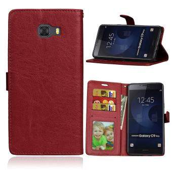 Features For Samsung Galaxy C9 Pro Wallet 3 Card Slots Crazy Horse
