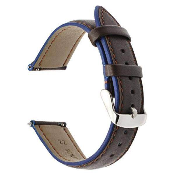 For Samsung Gear S3 Frontier Classic Watch Band, TRUMiRR 22mm Double Color Genuine Leather Watch Band Quick Release Wrist Strap for Gear 2 Neo Live, Moto 360 2 46mm Men, Pebble Time, LG G Watch Urbane - intl