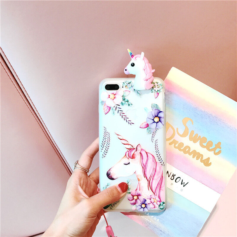 For Vivo Y66 3D Cute Unicorn Matte Case TPU Soft Drop-proof Case For Vivo Y66 Cover With Lanyard - intl
